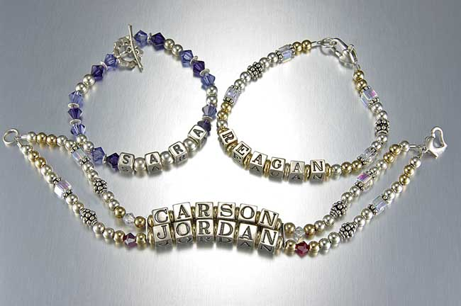 Mothers Bracelet and Name Bracelet Examples