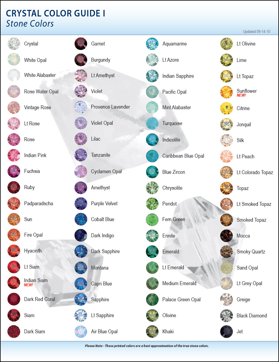 Swarovski Color Chart